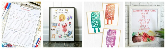 Awesome collection of free summer printables.