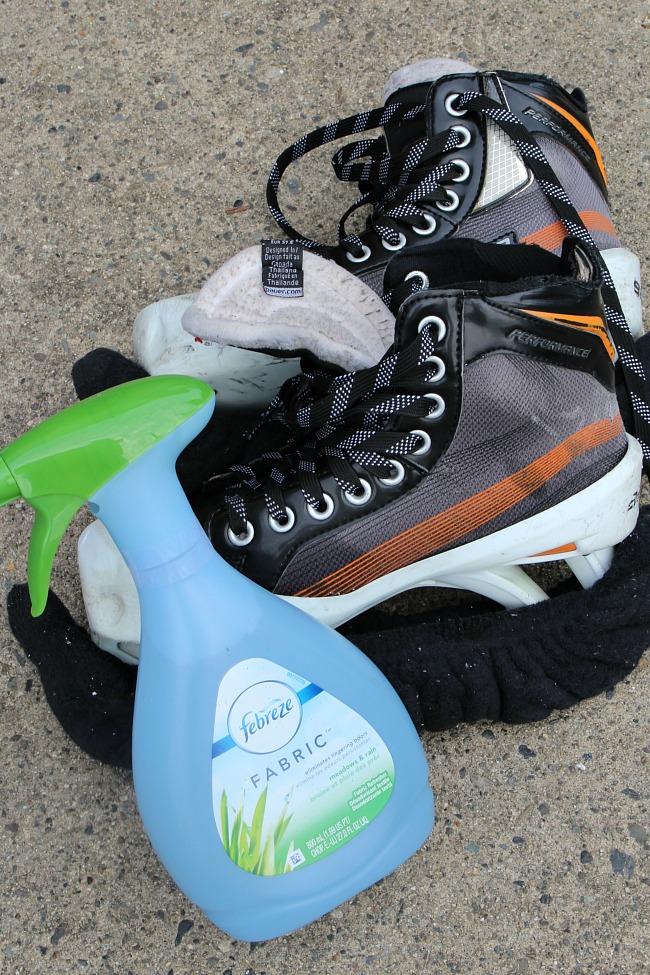 How to Clean Hockey Equipment. Hockey skates and Febreze Fabric.