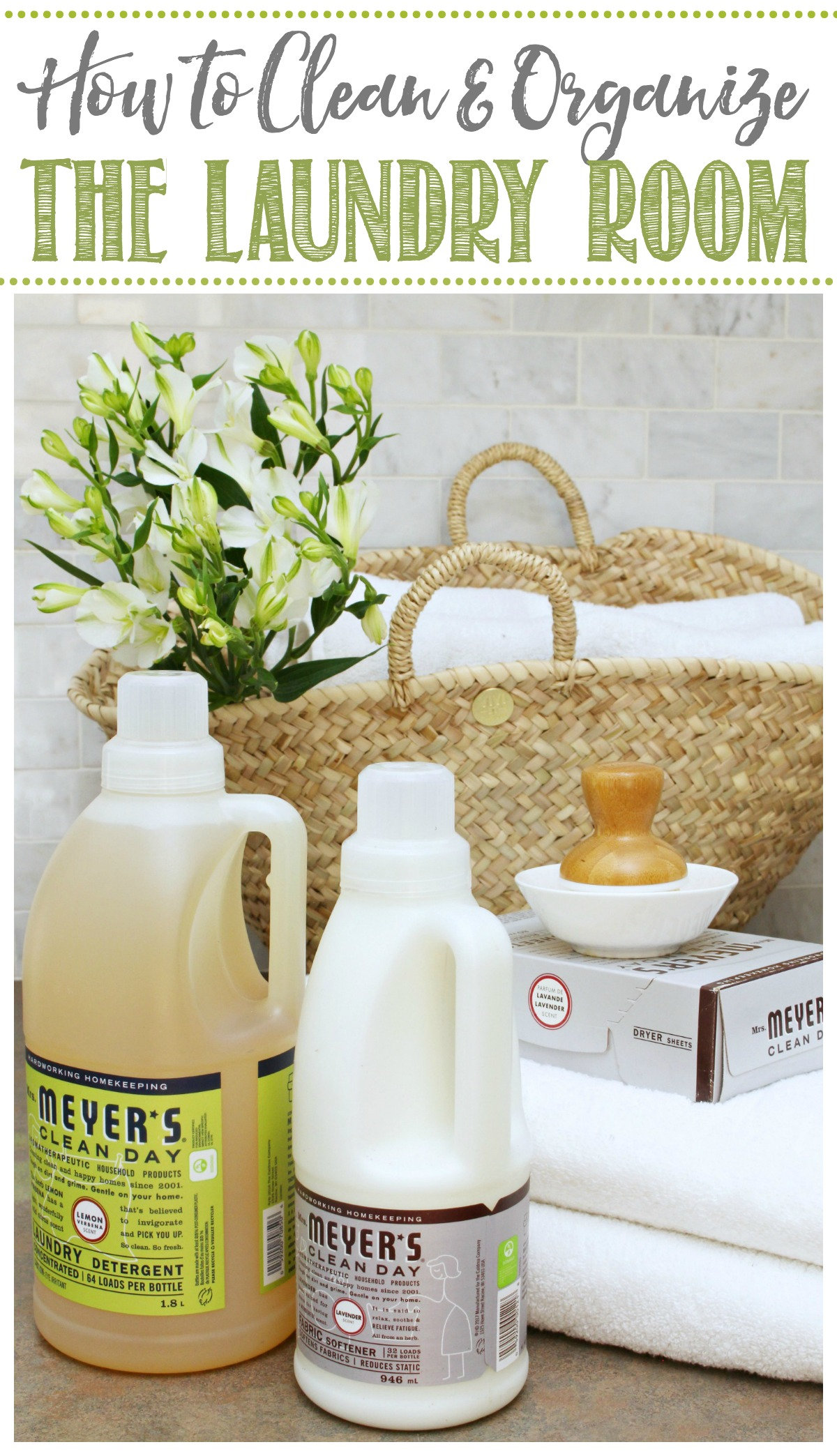 Laundry basket with Mrs. Meyers laundry products.