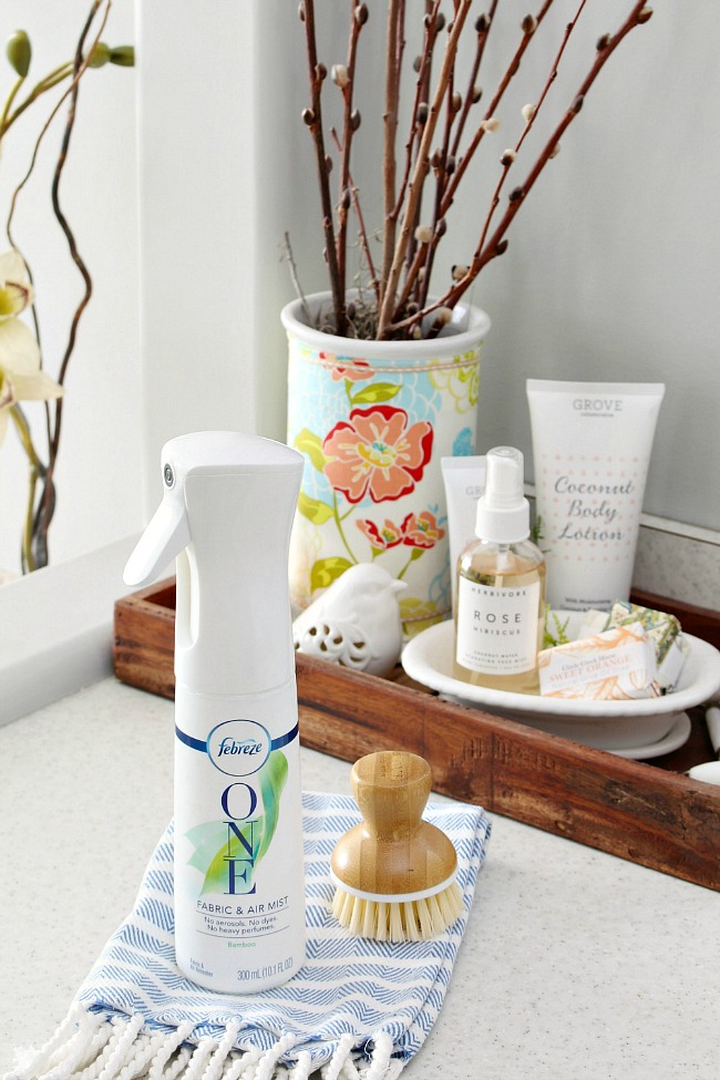 Febreze ONE in a farmhouse style bathroom.