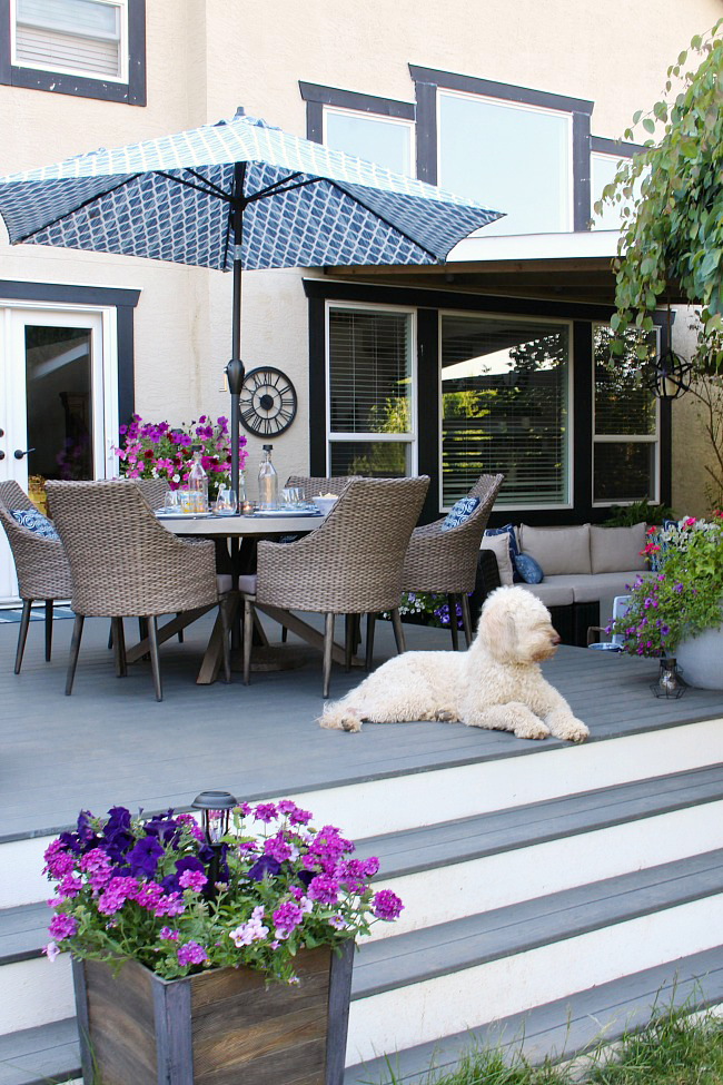 Patio Decorating Ideas. Pretty Backyard Patio With Trex Decking.