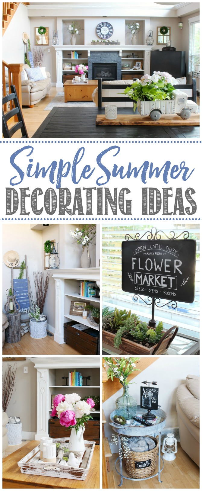 Collage of farmhouse style summer decor ideas for the living room.