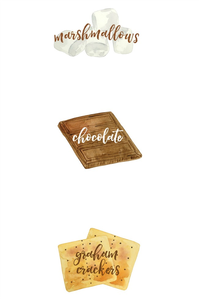 Free printable s'mores labels - chocolate, graham crackers, and marshmallows.