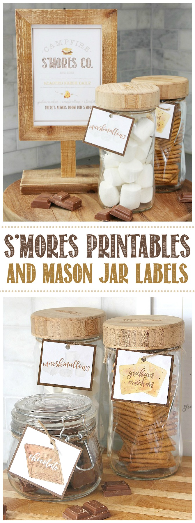 Campfire S'mores Printable in a wooden frame with s'mores ingredients in labeled mason jars.