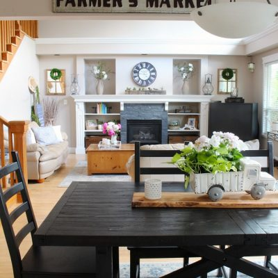 Farmhouse style family room with an open floor plan.