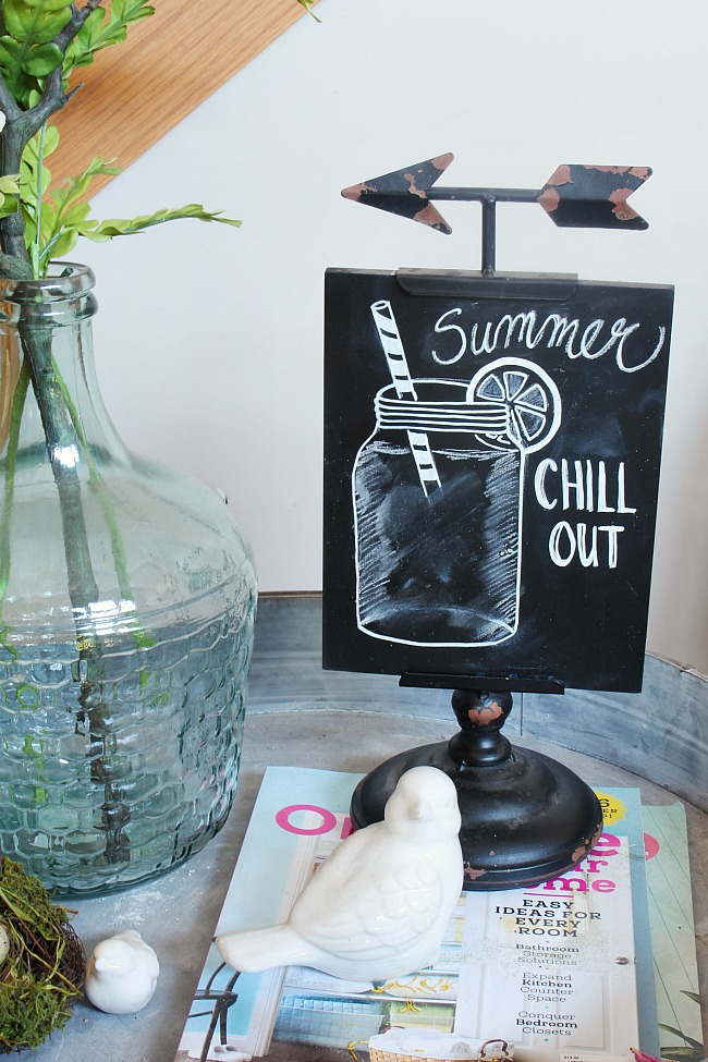 Summer chalkboard art with mason jar.