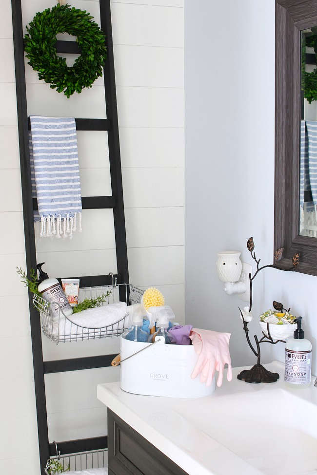 Bathroom with cleaning caddy and DIY storage ladder.
