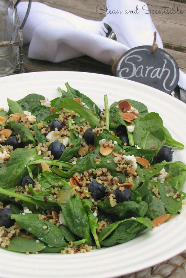 Blueberry quinoa spinach salad.