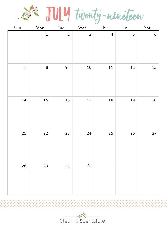 Free printable July 2019 calendar.
