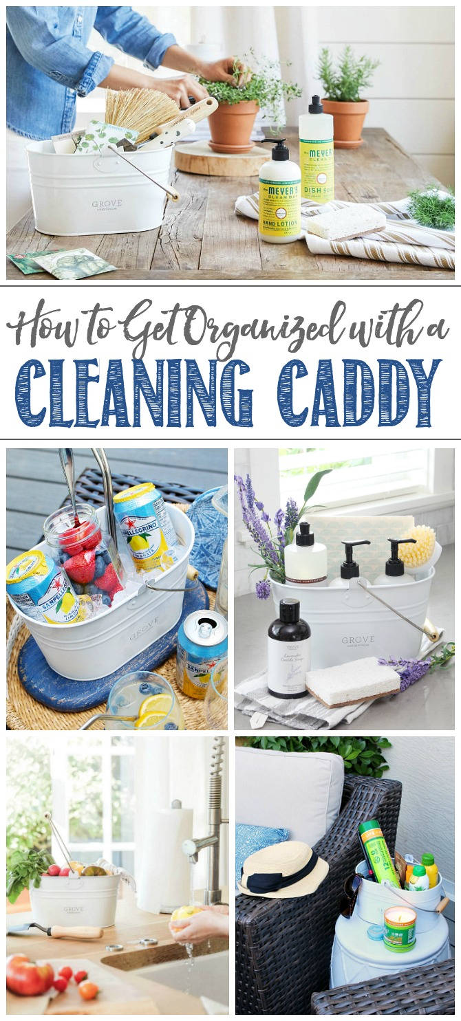 Collage of various ways to use a cleaning caddy to get organized.