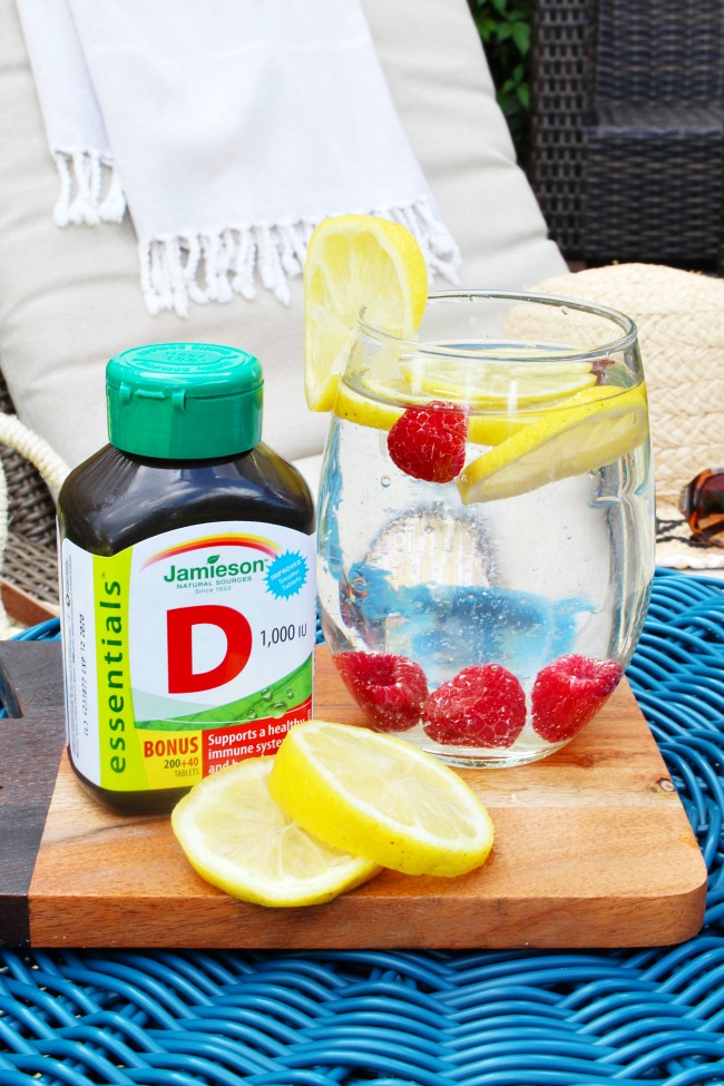 Bottle of Jamieson vitamin D and fruit infused water.