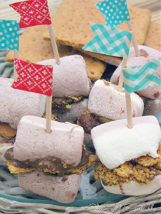 S'mores bites with colored toothpicks.