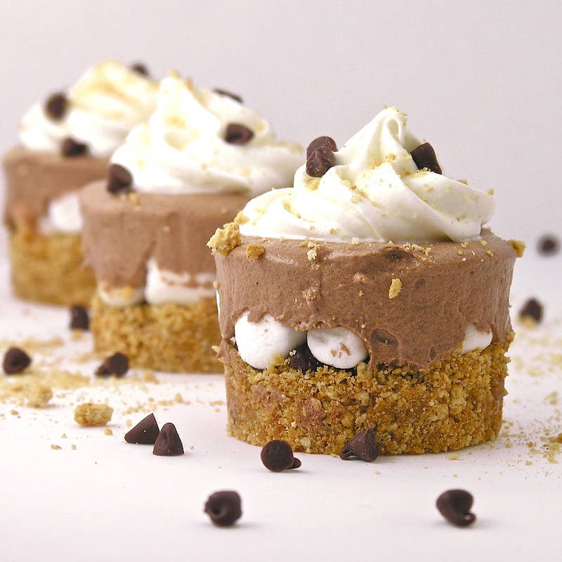 Delicious frosty s'mores cups.