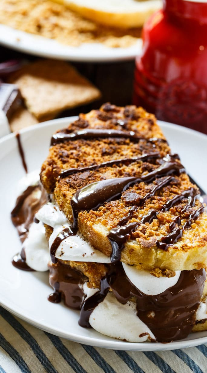 S'mores French toast on a plate.