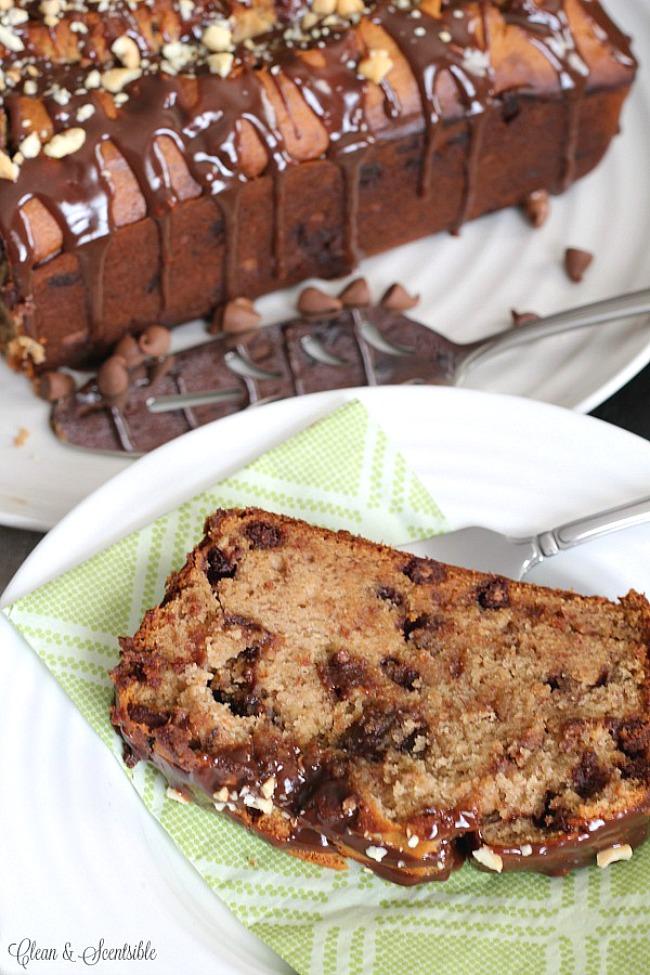 Slice of chocolate peanut butter banana bread.