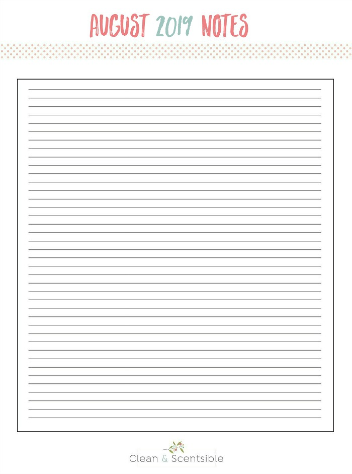 Free printable August notes sheet.