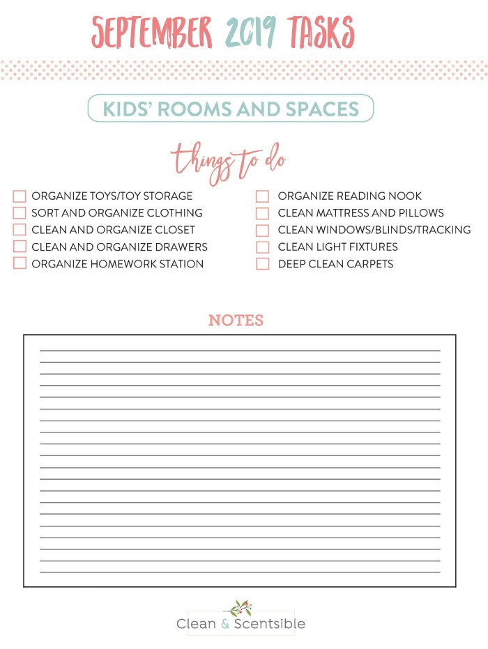 Free printable checklist to help you organize kids' bedrooms and playrooms.