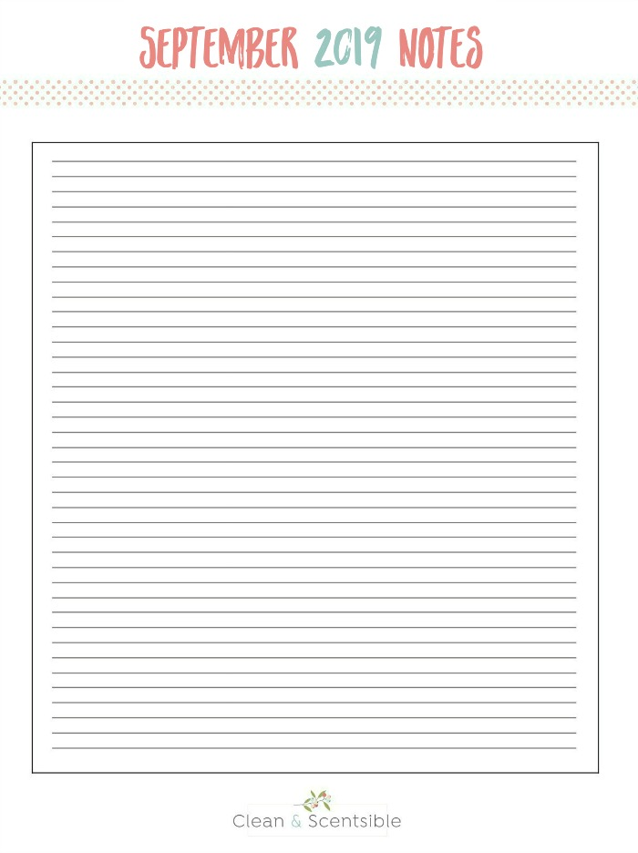 Free printable notes sheet for The Household Organization Diet.