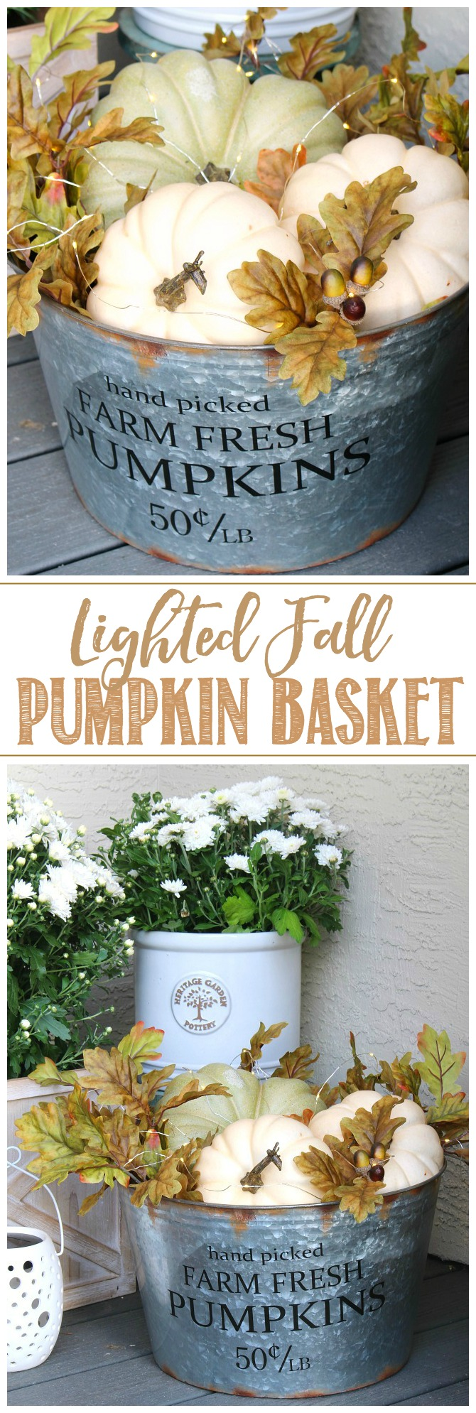 Lighted fall pumpkin bucket tutorial. Galvanized metal bucket filled with pumpkins, fall leaves, and mini lights.