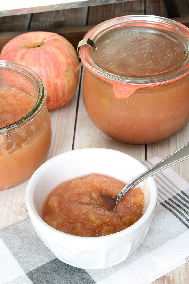 Bowl of homemade applesauce.