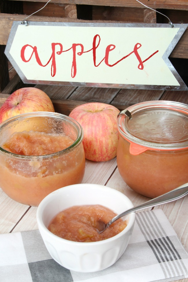 Homemade apple sauce stored in Weck jars.