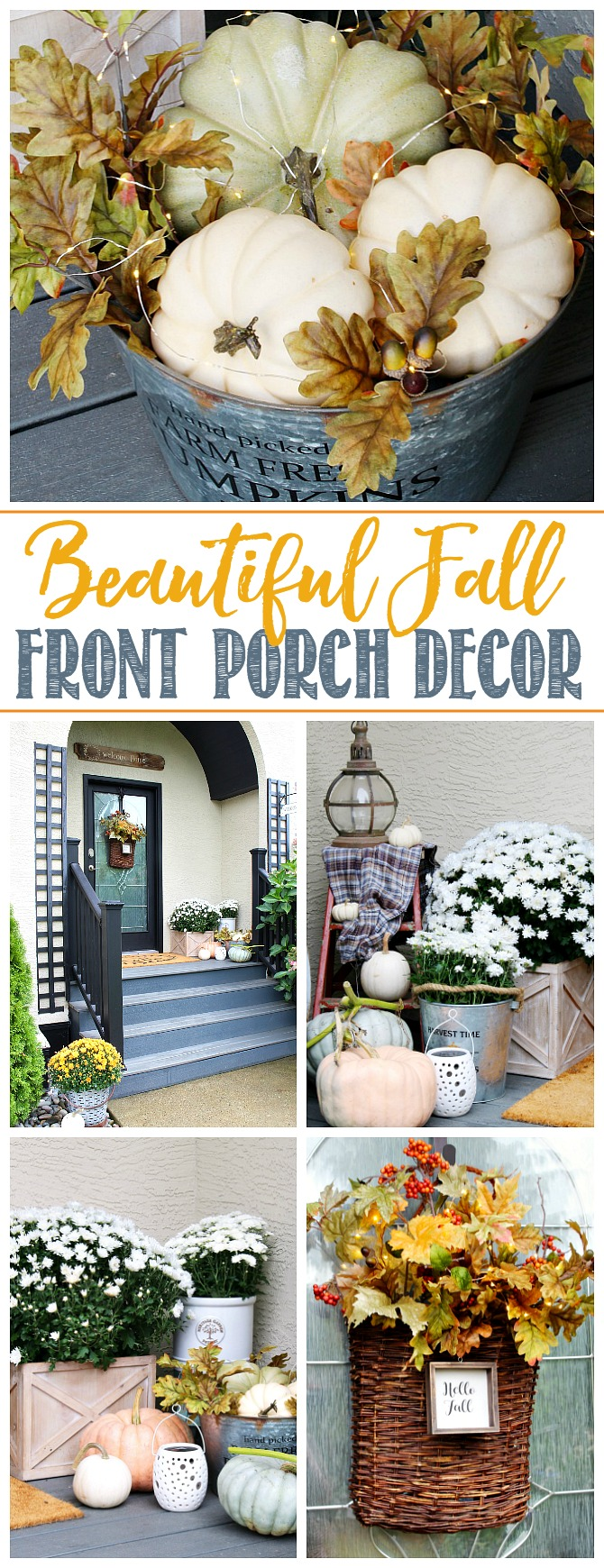 Collage of beautiful fall front porch decor ideas.