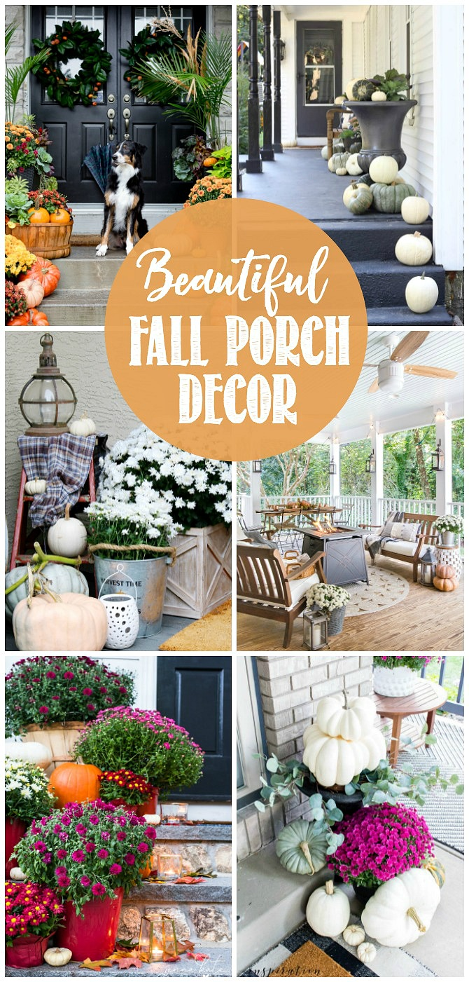 Fall front porch decor. Collection of beautiful fall front porches.