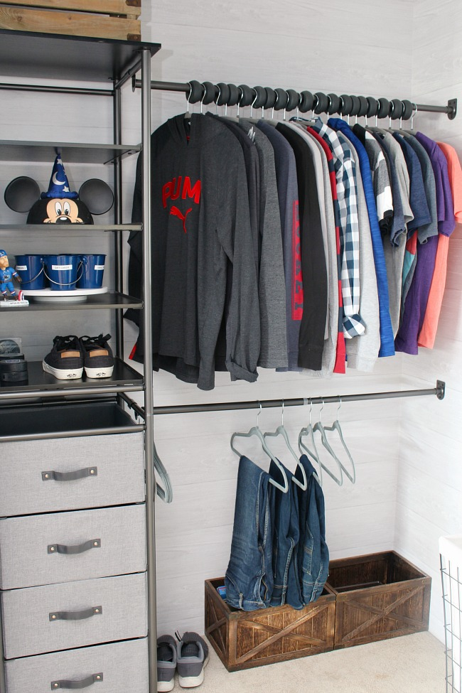 Awesome Closet Organizer In A Age Boys Has Combination Of Open Storage Shelves