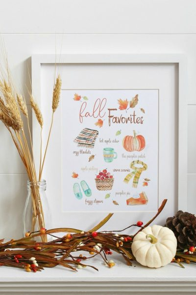 Fall Favorites printable with watercolor images of favorite fall activities and items.