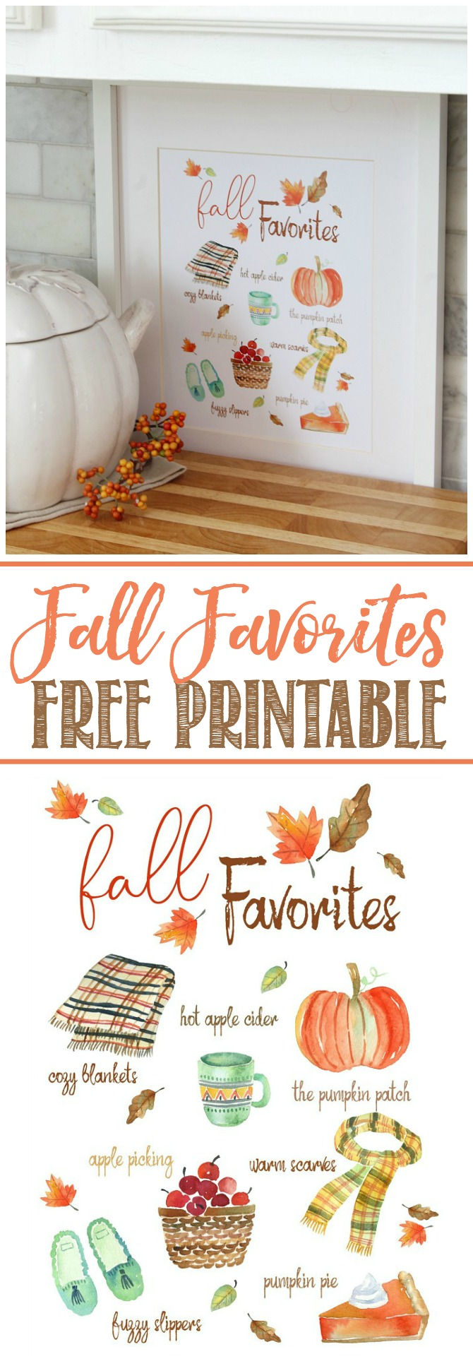 Fall favorites free fall printable. Watercolor images of favorite fall activities and items.