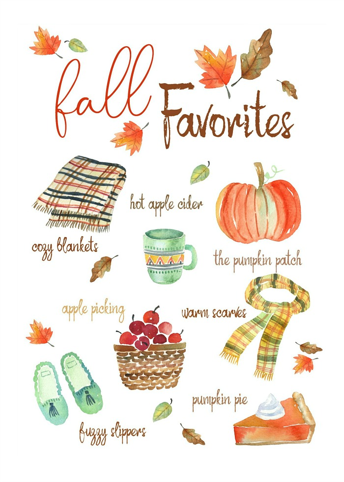 Fall Favorites free watercolor printable. Apple picking, cozy blankets, fuzzy socks and more.
