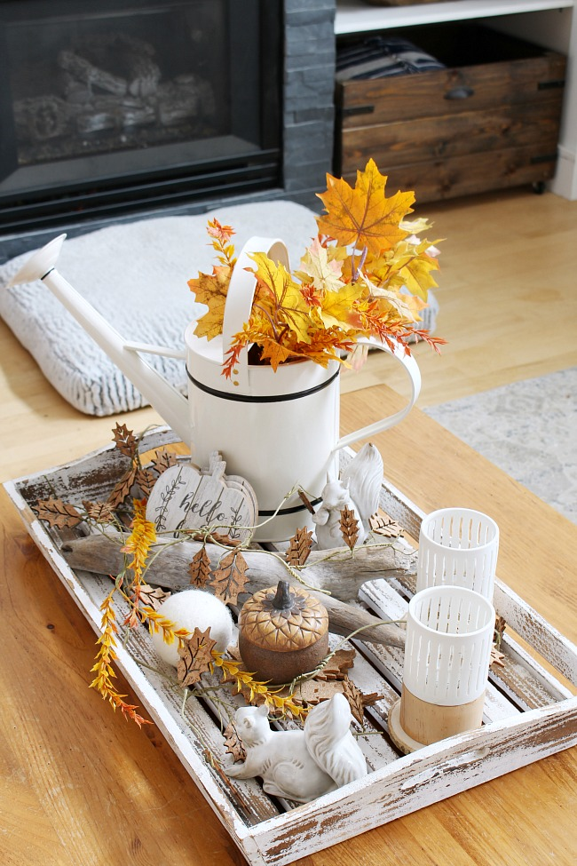 Farmhouse style fall tray using natural elements.