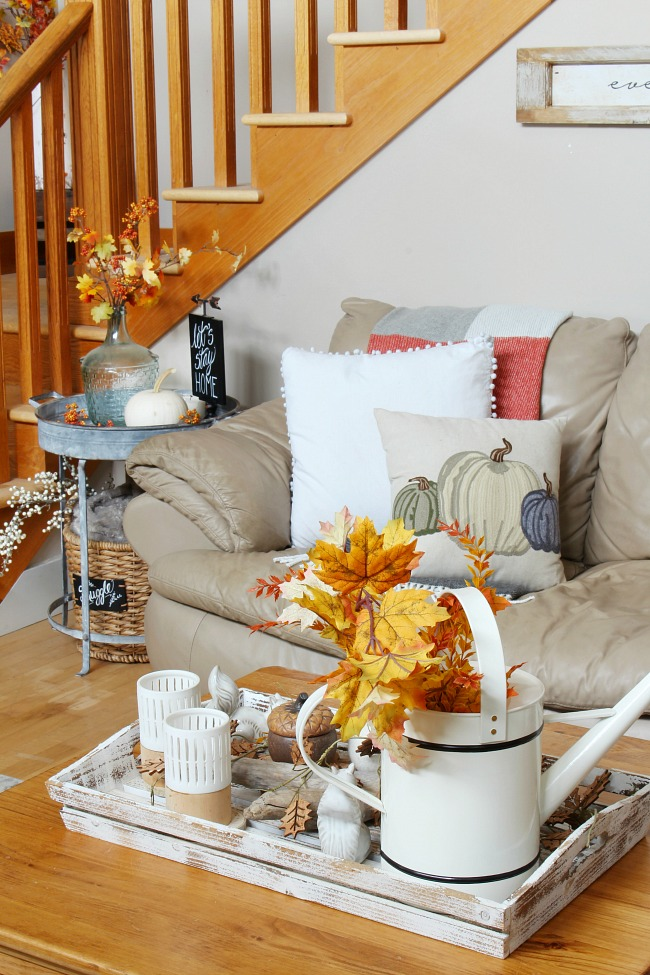 Fall family room with simple fall decorating ideas to create a warm and cozy space.