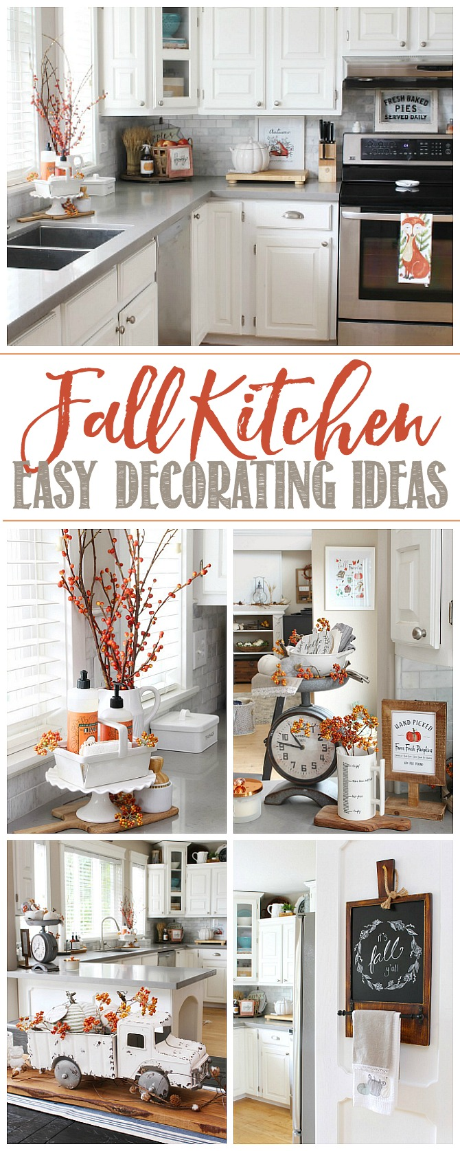 Collage of fall kitchen decorating ideas in a white kitchen.