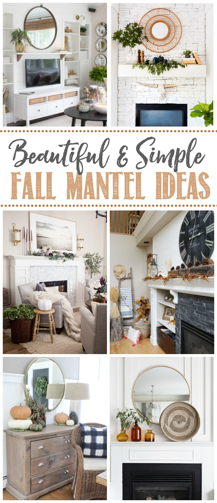 Beautiful fall mantels with neutral decor.