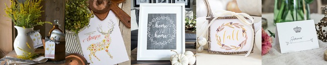 Beautiful collection of free fall printables and easy fall vignettes.