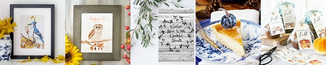 Collection of free fall printables and fall decorating ideas.
