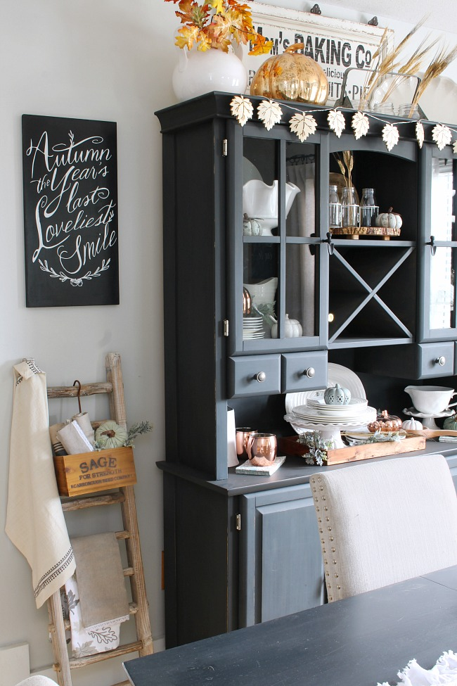 "Farmhouse style neutral fall dining room. Fall chalkboard - ""Autumn - the year's last loveliest smile."""