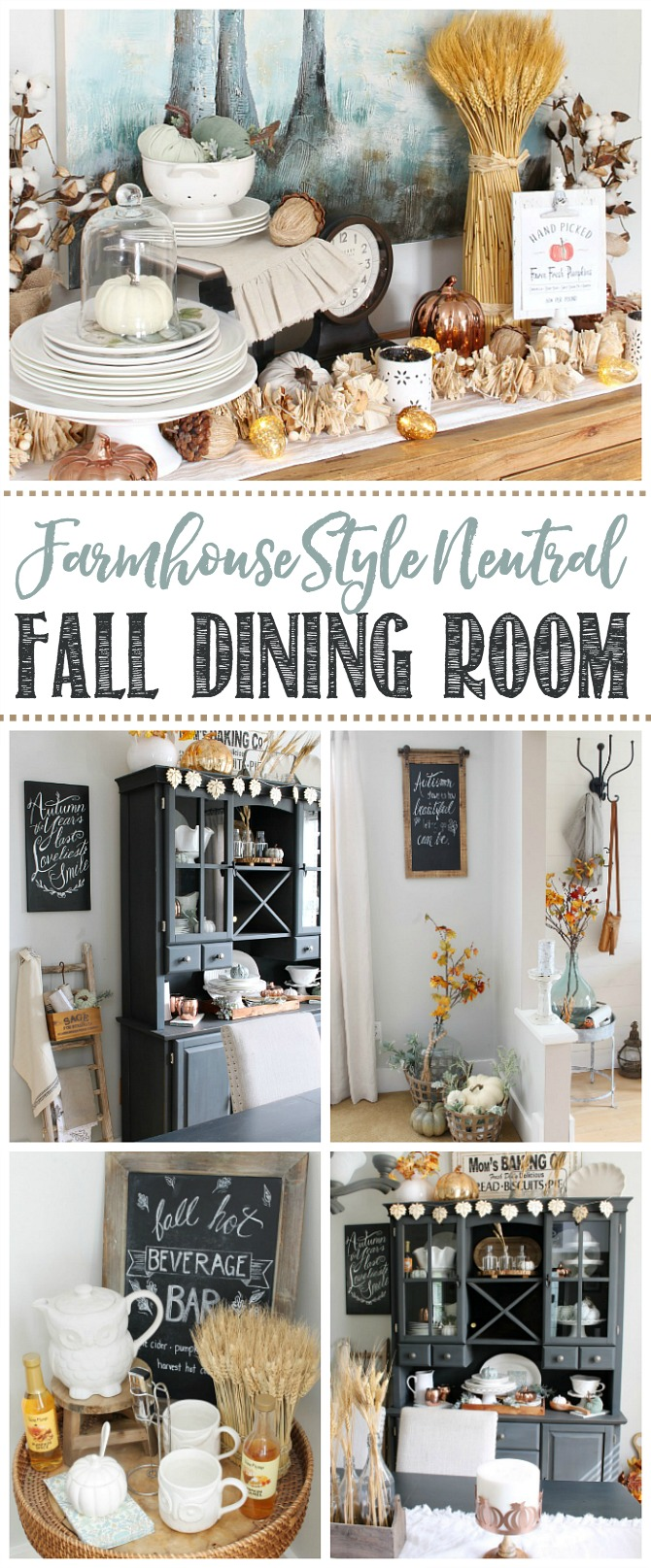 Collage of fall decorating ideas for the dining room.