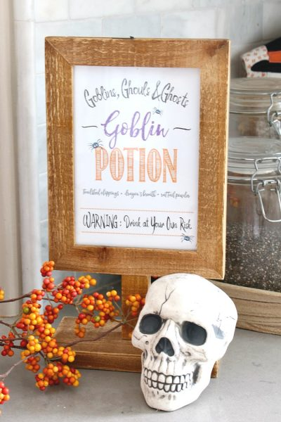 Goblin Potion Halloween Printables and Straw Toppers