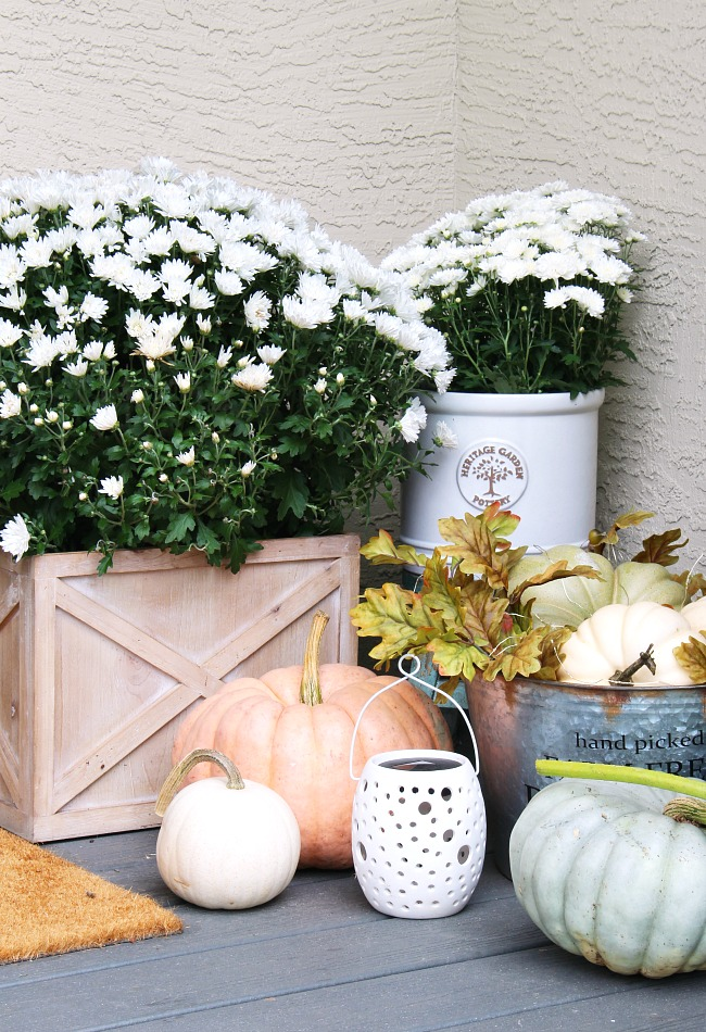 Fall front porch decor with mums, pumpkins, and lights.