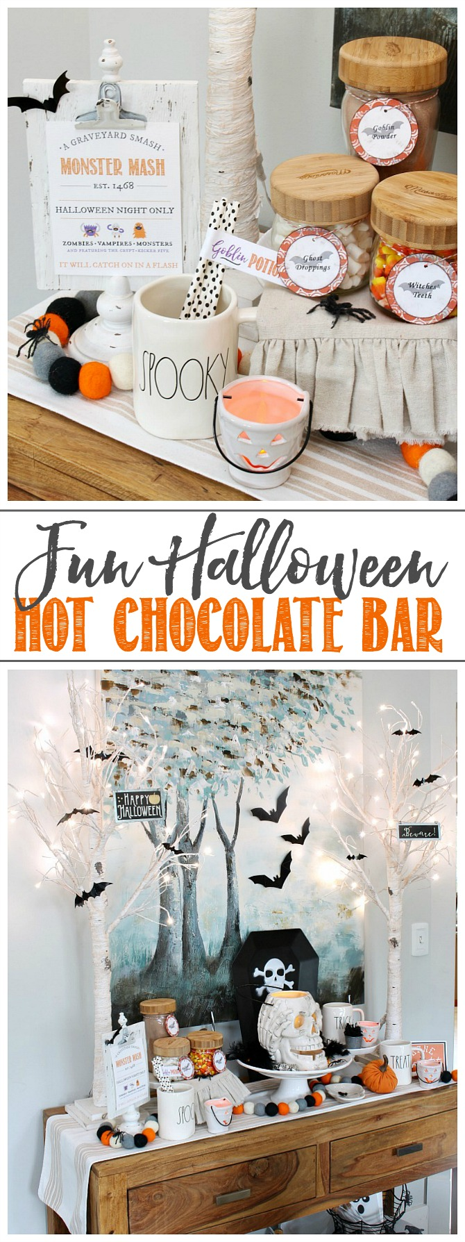 Halloween hot chocolate bar using free Halloween labels.