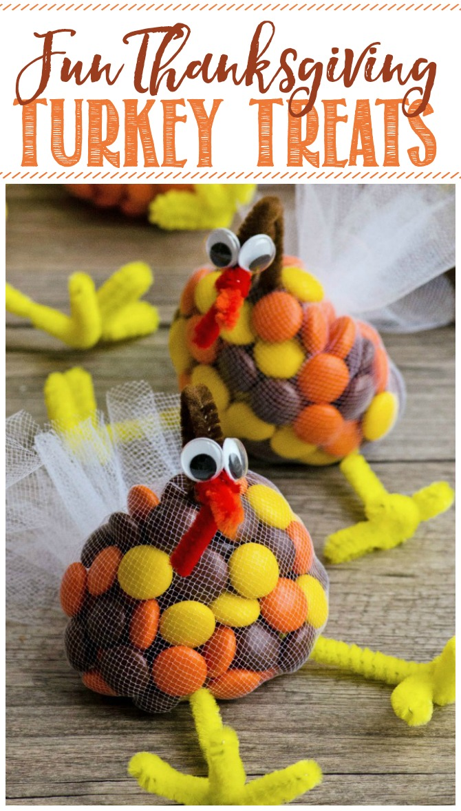 Cute Thanksgiving turkey treats made from tulle and pipe cleaners.