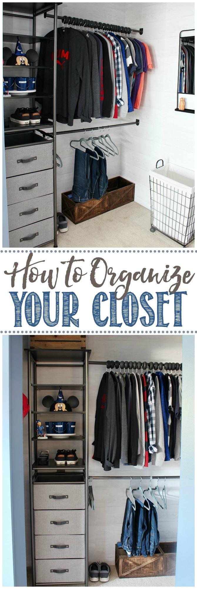 Organized teen bedroom clothes closet using a modular closet organizer.
