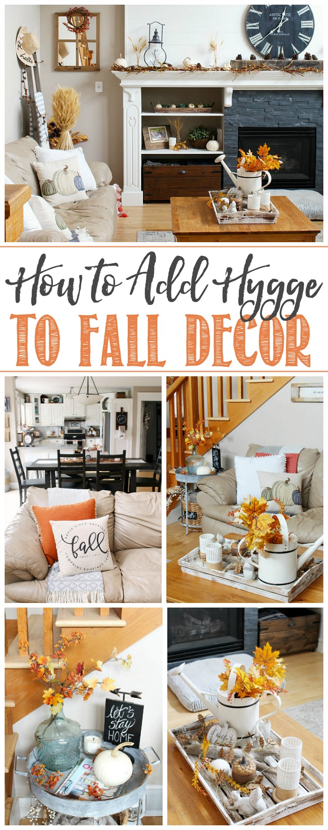 Collage of images from a fall family room decorated in traditional fall colors.