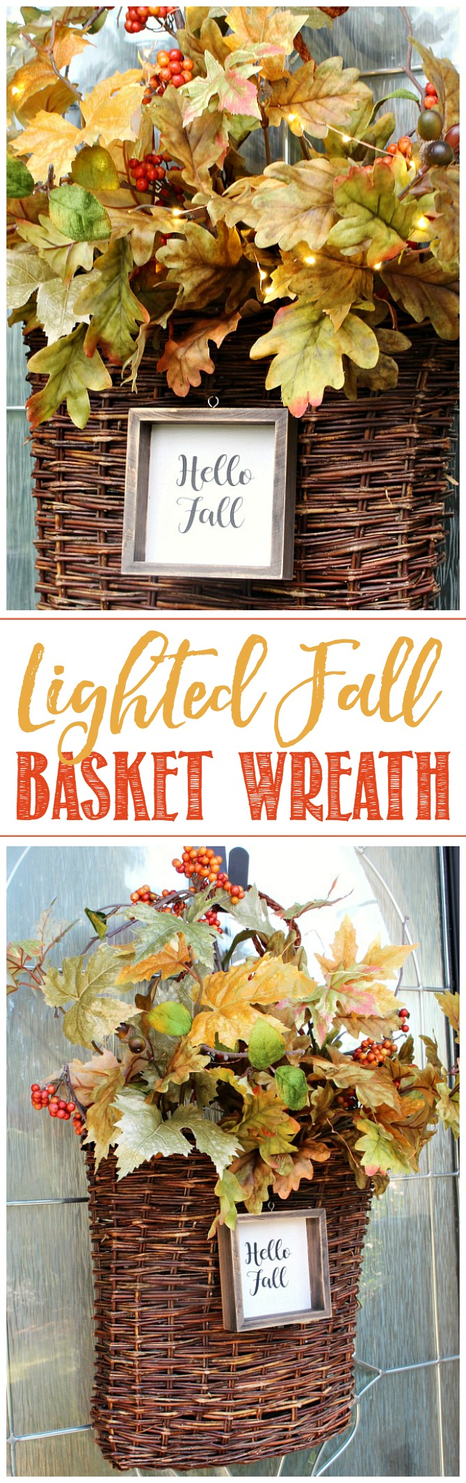 Lighted Fall Basket Wreath. Wicker basket filled with colorful fall leaves and mini lights. Adorned with a Happy Fall wooden sign.