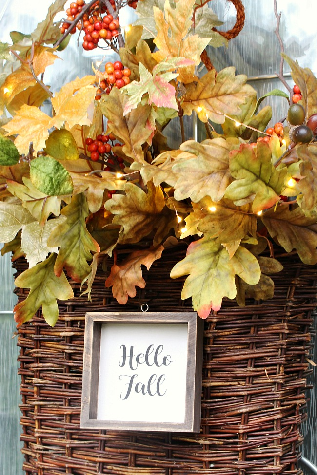 Fall Basket wreath with pretty twinkle lights to add a soft glow.
