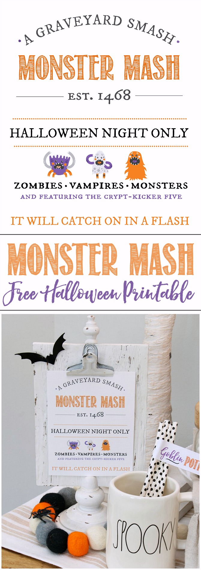 Monster Mash Free Halloween Printable displayed on a clipboard.