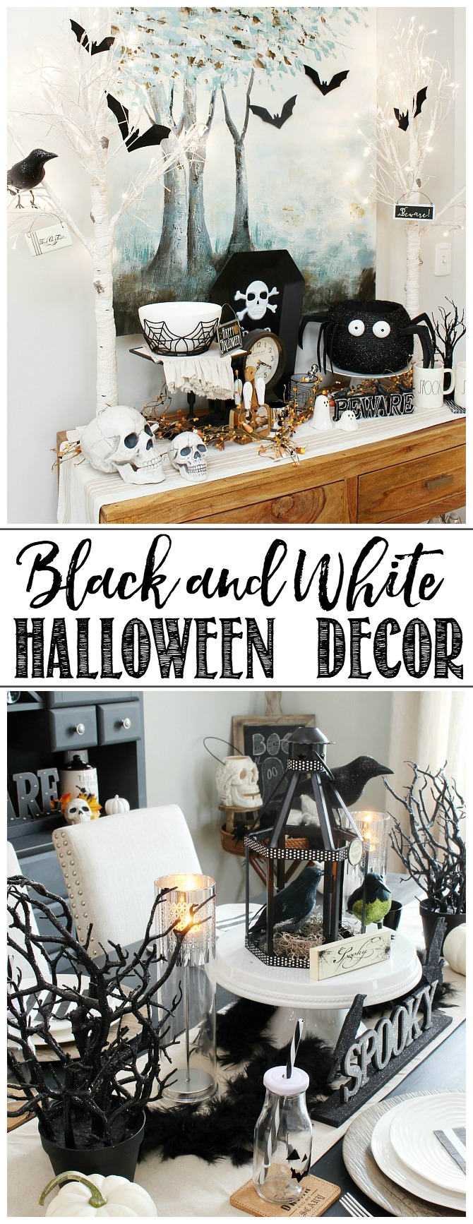 Black And White Halloween Decor For A Halloween Tablescape And Halloween Dining  Room.