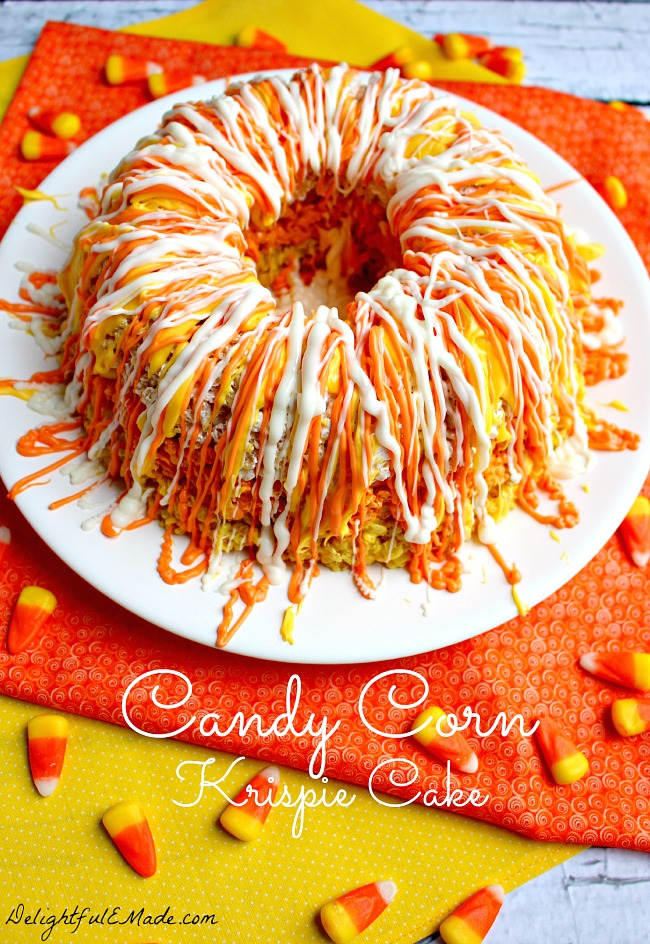 Candy Corn Rice Krispie Treat cake using a bundt pan.
